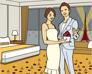 高級ホテルでラグジュアリープロポーズ