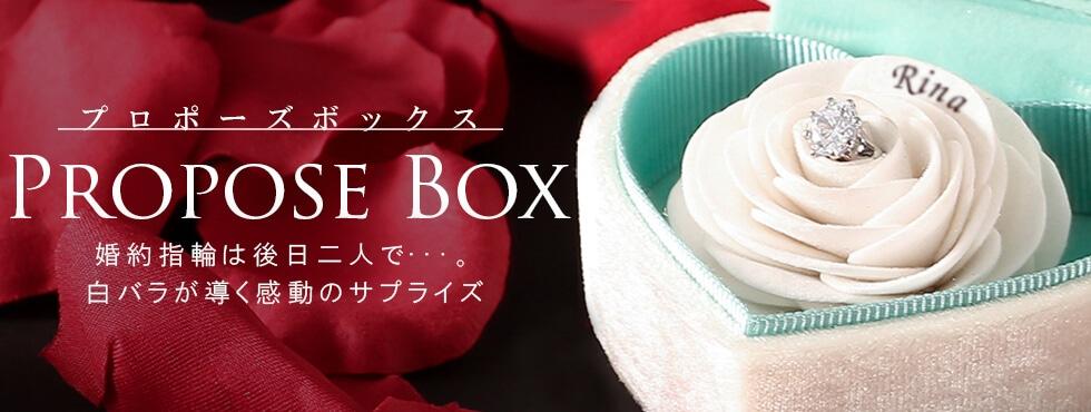 プロポーズボックス 婚約指輪は後日二人で・・・。白バラが導く感動のサプライズ