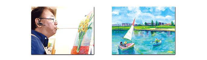 「光と風(越谷レイクタウン)」 油彩画 梅宮 俊明(埼玉県/口で描く画家)