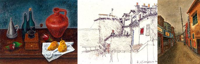 「スペイン壺のある静物」油彩 「モンマルトル�」デッサン 「路地にて」油彩