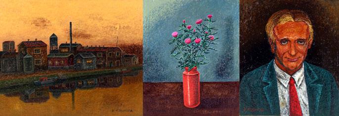 「夕映えの運河工場」油彩 「野あざみ」油彩 「赤いネクタイの男」油彩