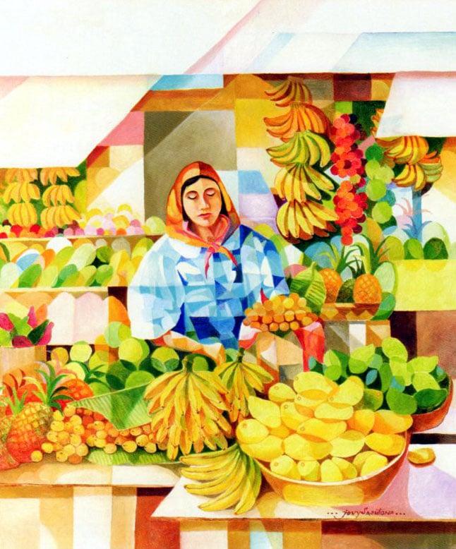 ジョビト・サストーナ 「果物売り」 油彩画