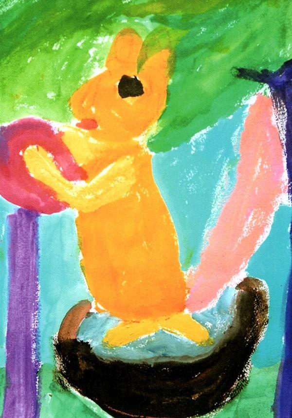 「森のリス」 水彩画 山口 かほる (東京都在住/足で描く画家)