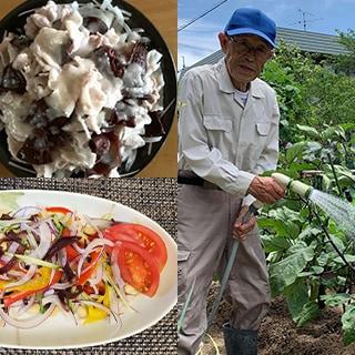 きくらげの冷しゃぶサラダ きくらげと緑黄色野菜のサラダ 庭の畑できくらげの菌床に水やりをする様子