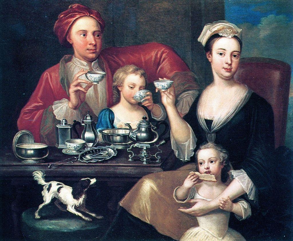 1720年 ジョセフ・ヴァン・アーケン 家族のティータイム