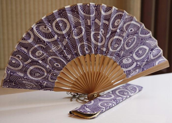 型小紋染 型小紋 ケース付 布扇子 蛇の目傘 紫