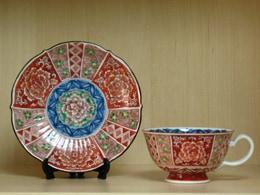 京焼清水焼 赤絵間取祥瑞小紋牡丹画碗皿