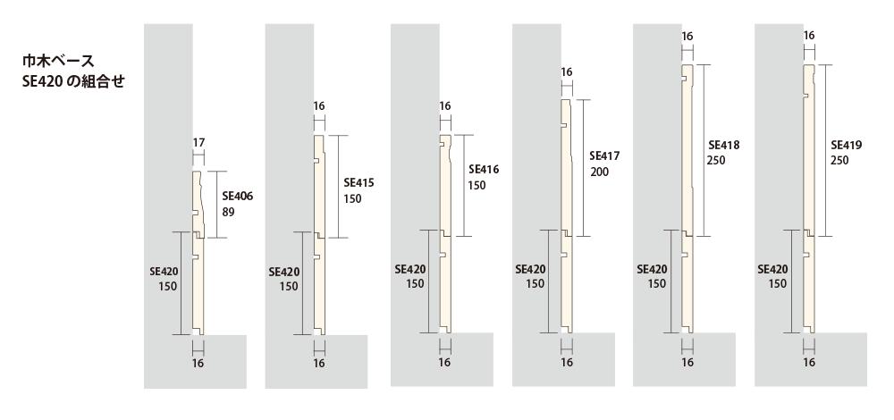 スィートエレガンス:巾木ベースSE420の組み合わせ例