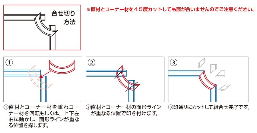直材とコーナー材の組合せ例