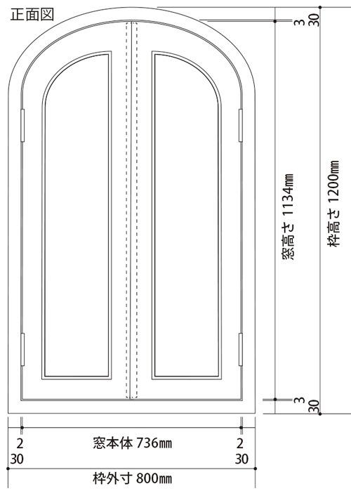 トップオーバル窓共通サイズ