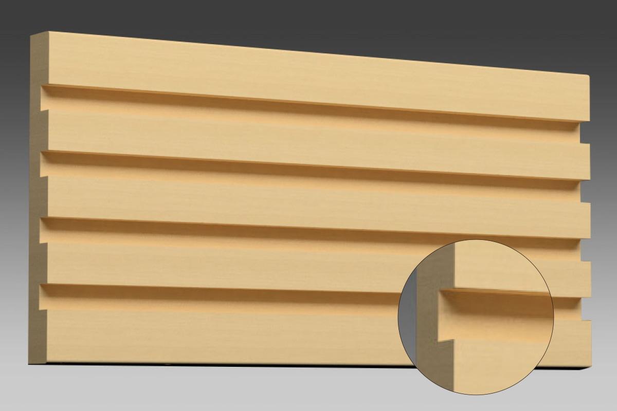 直角の凹面の場合、メリハリのある雰囲気の縞模様ができます。