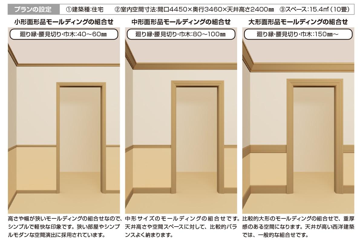 モールディングのサイズで空間の印象は異なります