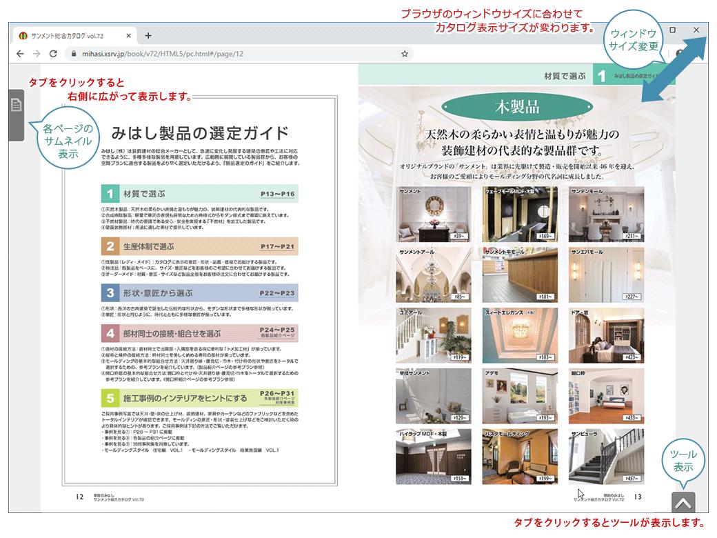 HTML5版の画面表示の説明