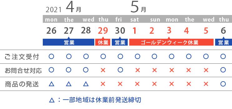 4/26〜5/6の営業スケジュール
