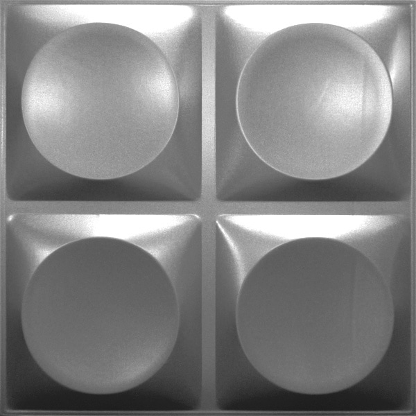 NDSB3010SL スチール製3パネル 3Dジン 銀色 300×300mm