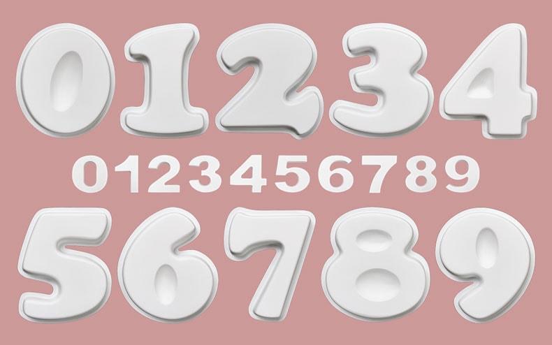 数字飾り 大きさの比較