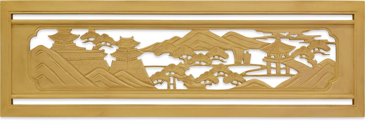 FRP製欄間 近江八景 城と東屋