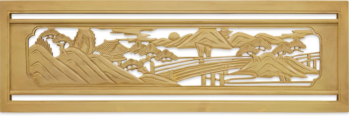FRP製欄間 近江八景 橋と東屋