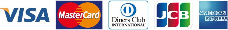 JCB/VISA/MasterCard/DinersClub/AmericanExpress