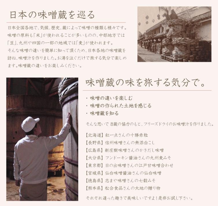 日本の味噌蔵を巡る 日本全国各地で、気候、歴史、藏によって味噌の種類も様々です。 味噌の原料も「米」が使われることが多いものの、中部地方では「豆」、九州や四国の一部の地域では「麦」が使われます。   そんな味噌の違いを簡単に知って頂くため、日本各地の味噌蔵を訪ね、味噌汁を作りました。お湯を注ぐだけで旅する気分で楽しめます。味噌蔵の違いをお楽しみください