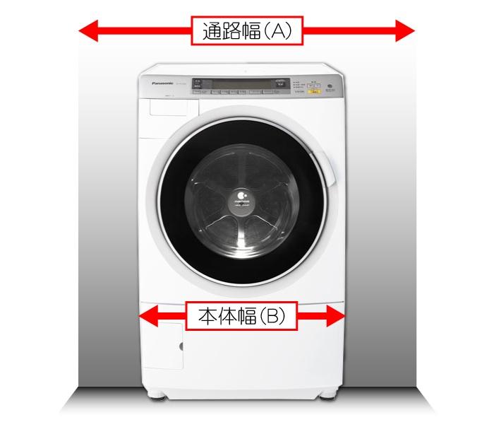 洗濯乾燥機搬入経路寸法チェック