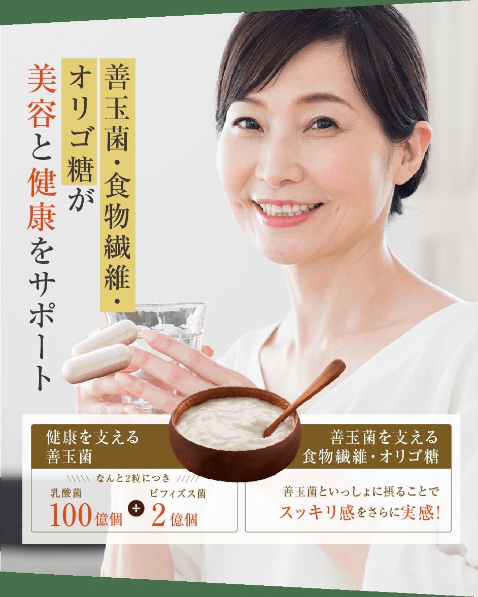 善玉菌・食物繊維・オリゴ糖が美容と健康をサポート