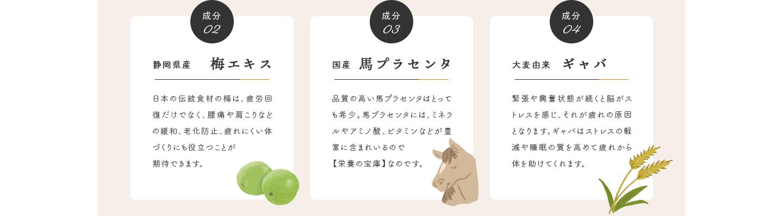成分02 静岡県産 梅エキス・成分03 国産 馬プラセンタ・成分04 大麦由来 ギャバ