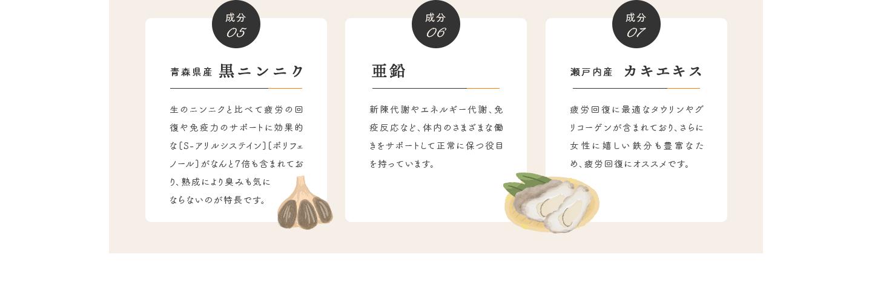 成分05 青森県産 黒ニンニク・成分06 亜鉛・成分07 瀬戸内産 カキエキス