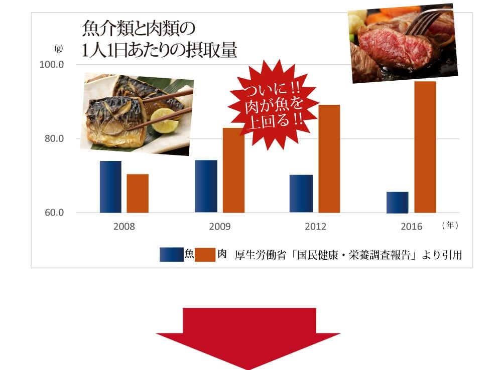 日本人の魚の摂取量は年々減り続けています
