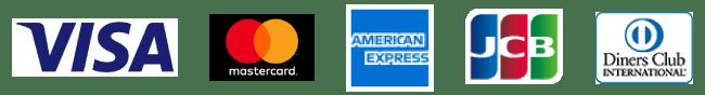 VISA、MasterCard、American Express、JCB、Diners Club