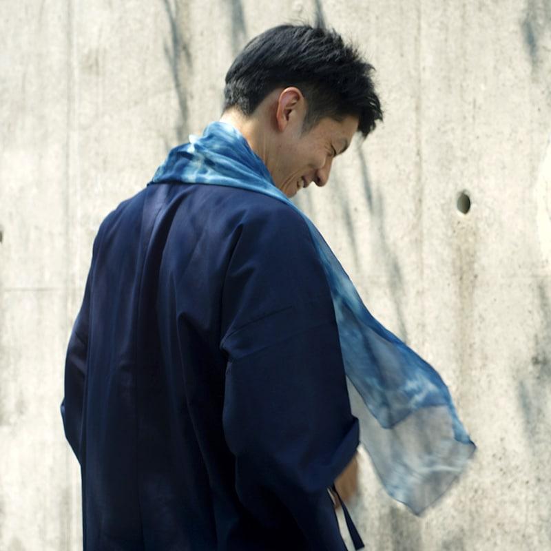 作務衣ちぢみ織りモデル写真