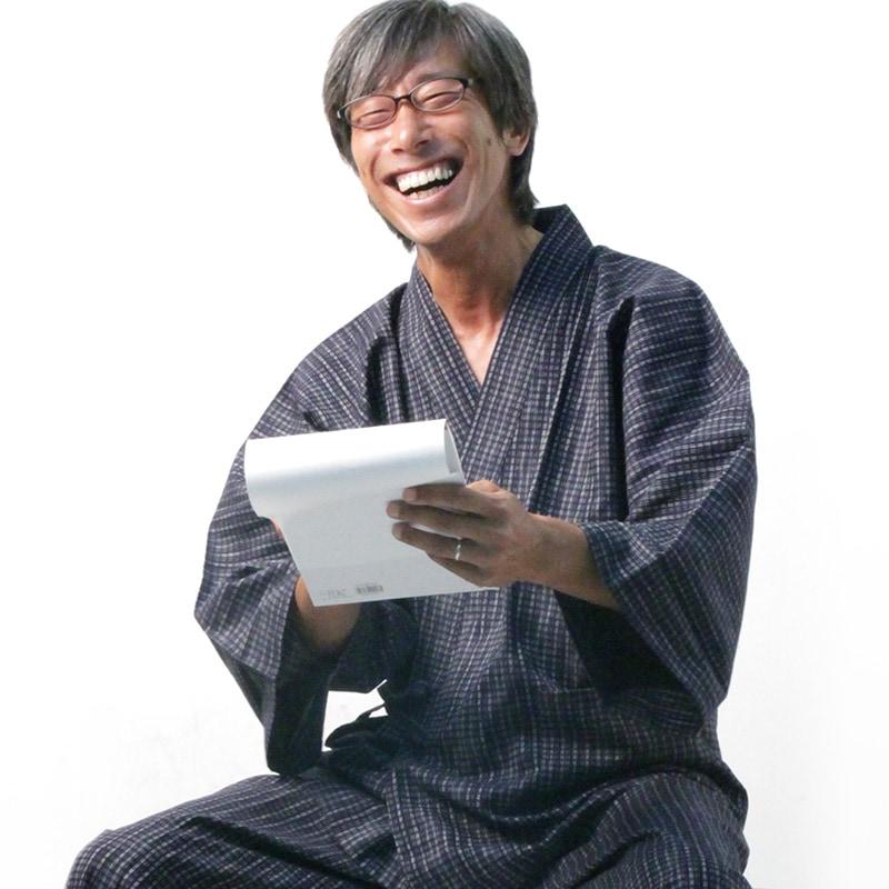 新文人織り作務衣モデル写真