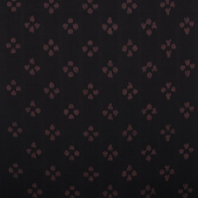 久留米絣「絵絣 梅鉢/黒茶」の写真