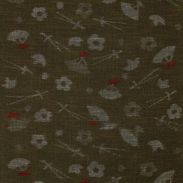 久留米絣「絵絣 扇柄/鶯色」の写真