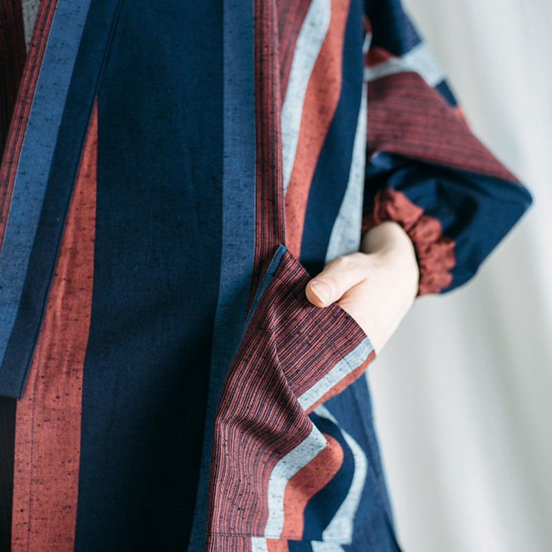作務衣「縞柄」モデル写真
