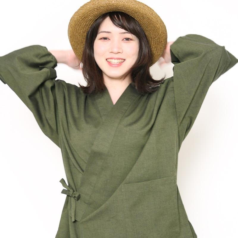 作務衣「ちぢみ織り」モデル写真