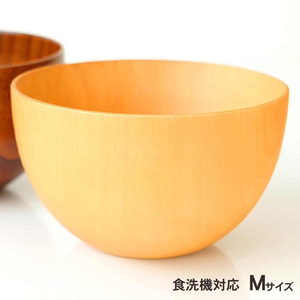 食洗機対応 ナノガラスコート 天然木製 マルチボウル型汁椀 M 白木