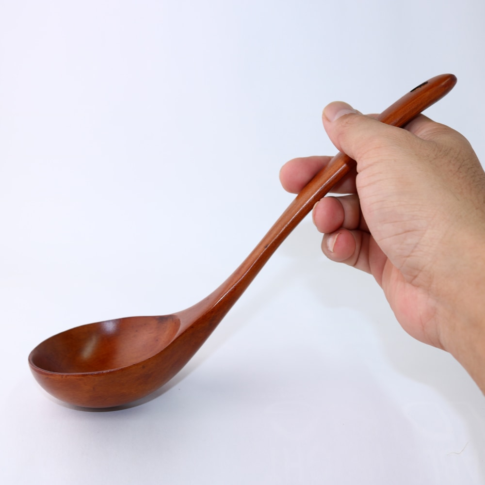 天然木製 お玉 木目 漆塗り