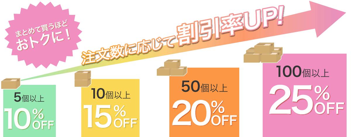 5個以上5%OFF 50個以上10%OFF 100個以上さらにお安く!ご相談ください 購入数に応じて割引率UP!!