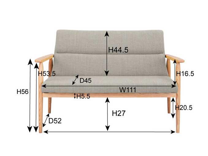 北欧デザインの天然木ソファ サイズ