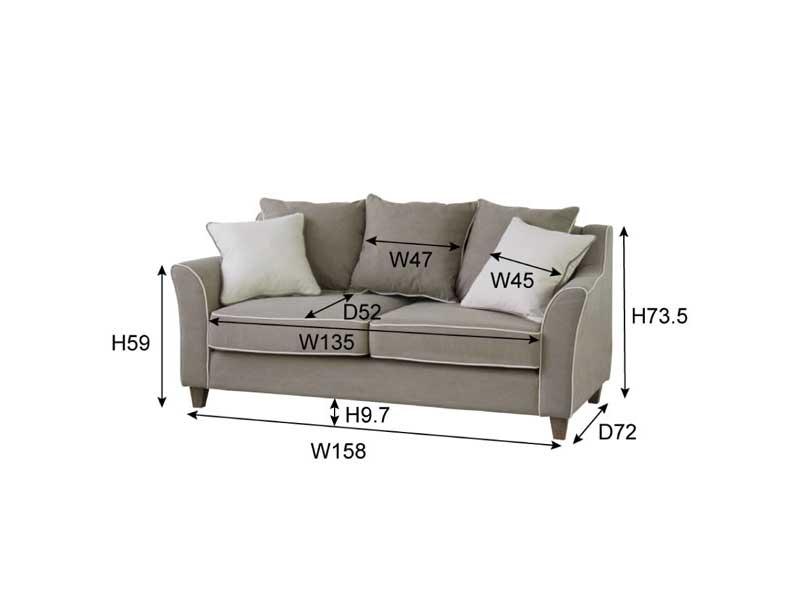 スタンダードなクッション5個セットのソファ サイズ