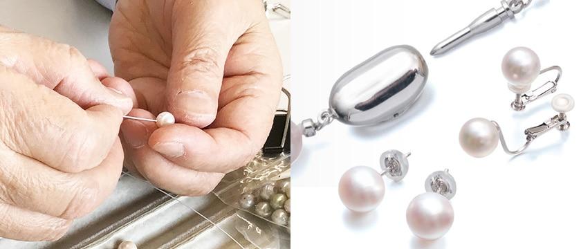 ネックレスは切れにくいワイヤー加工、安心の仕立て