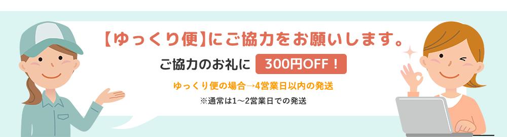 【ゆっくり便】にご協力をお願いします。ご協力のお礼に300円OFF!ゆっくり便の場合→4営業日以内の発送※通常は1〜2営業日での発送