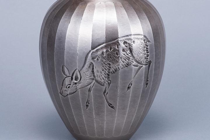 純銀 花瓶 鹿