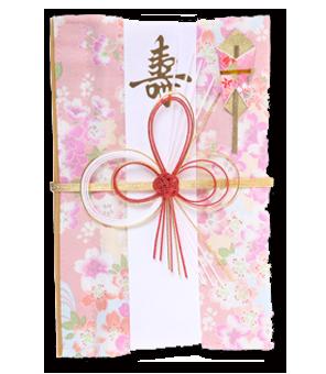ご祝儀袋 結姫 白梅(コットン)朱華桃桜