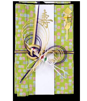 ご祝儀袋 結姫 白梅(コットン)色鉛筆緑