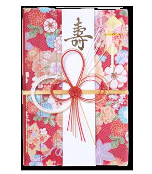 ご祝儀袋 結姫 白梅(コットン)小紋赤華