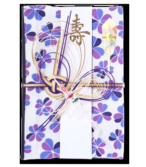 ご祝儀袋 結姫 白梅(コットン)紫白四葉