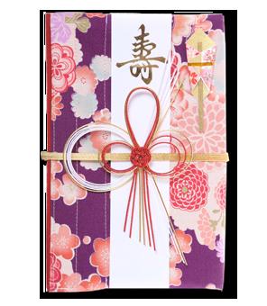 ご祝儀袋 結姫 白梅(コットン)雲花紫風