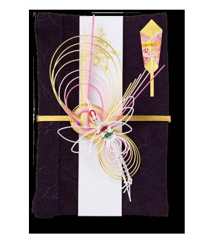 祝儀袋 結姫 青竹(ポリエステル)織柄花紫